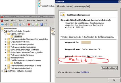 Exchange 2010 bestehendes (nicht selbstsigniertes) Zertifikat ...
