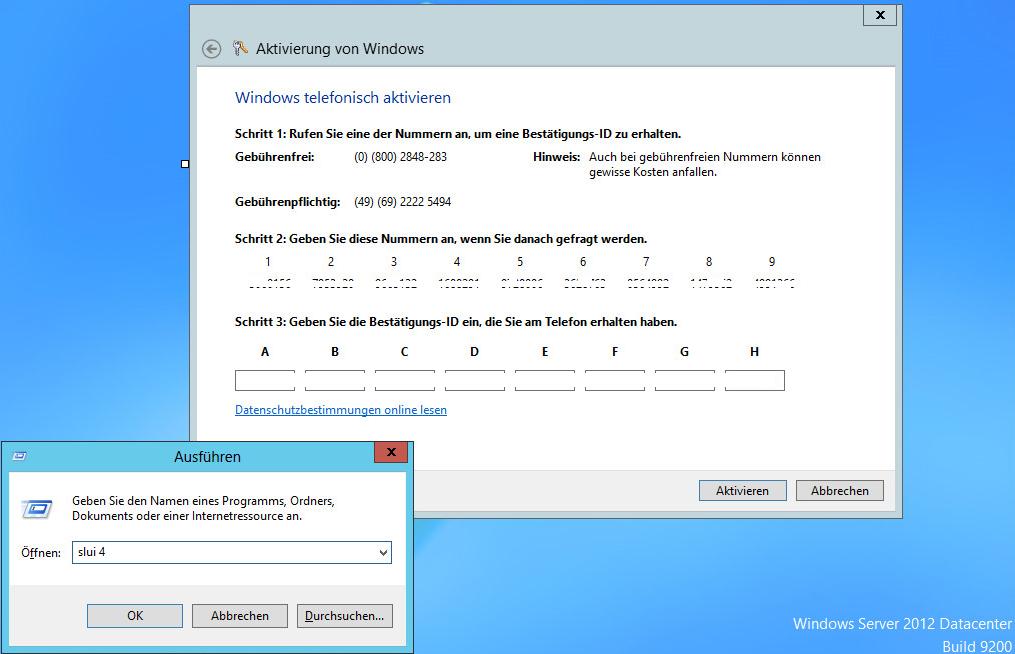 Windows 2012 Telefonische Aktivierung
