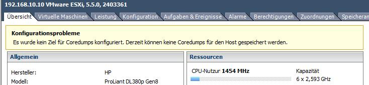 Es wurde kein Ziel für Coredumps konfiguriert. Derzeit können keine coredumps für den Host gespeichert werden