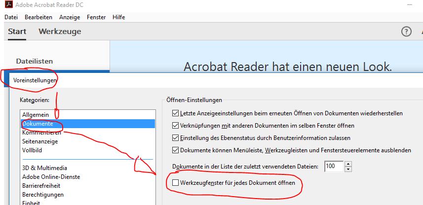 Adobe Acrobat Reader DC Seitenleiste deaktivieren – ugg li