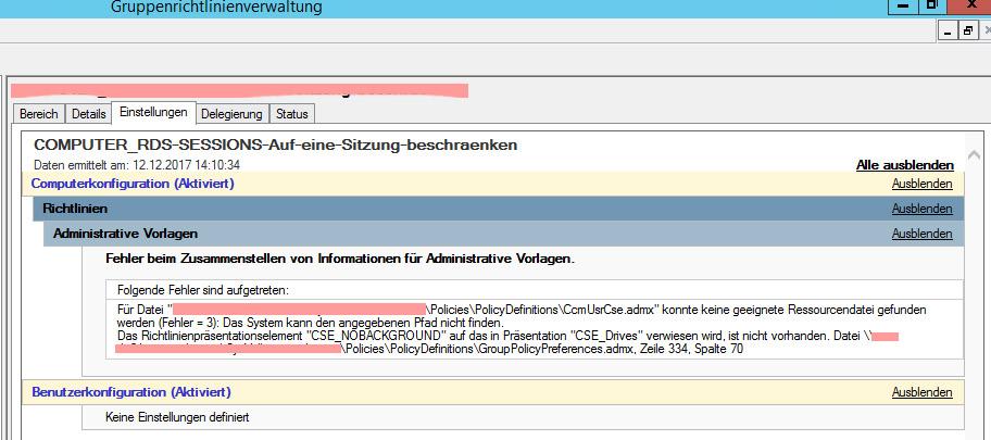 Windows 10 1709 ADMX Ressourcendatei (ADML) nicht gefunden
