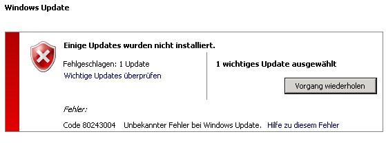 Windows Update Fehler 80243004